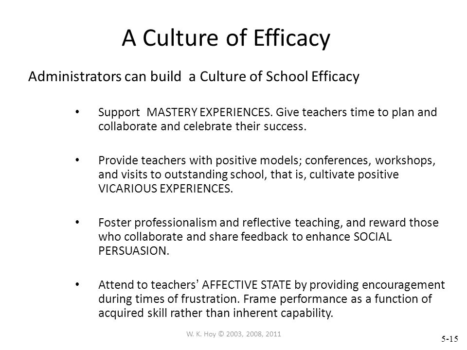A Culture of Efficacy Administrators can build a Culture of School Efficacy.
