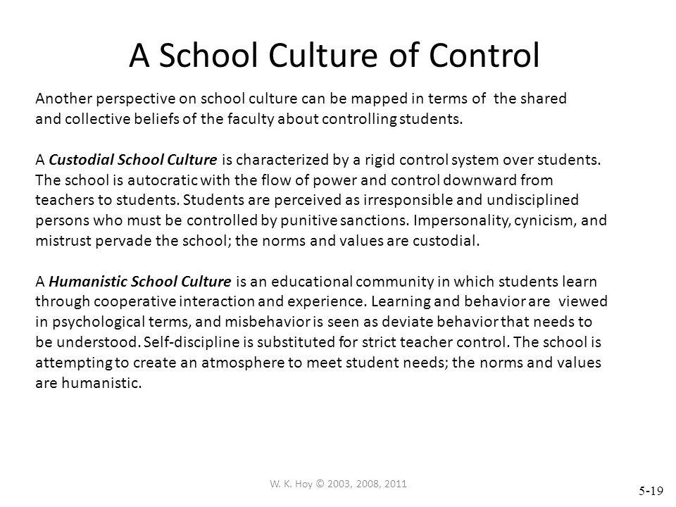 A School Culture of Control