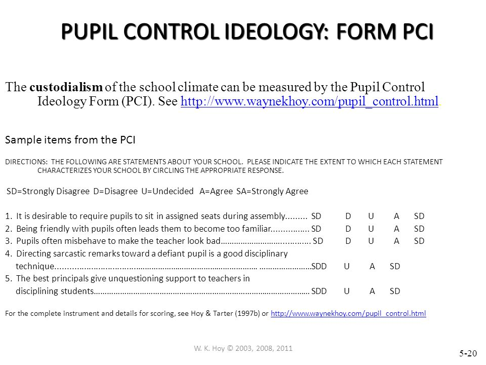 PUPIL CONTROL IDEOLOGY: FORM PCI