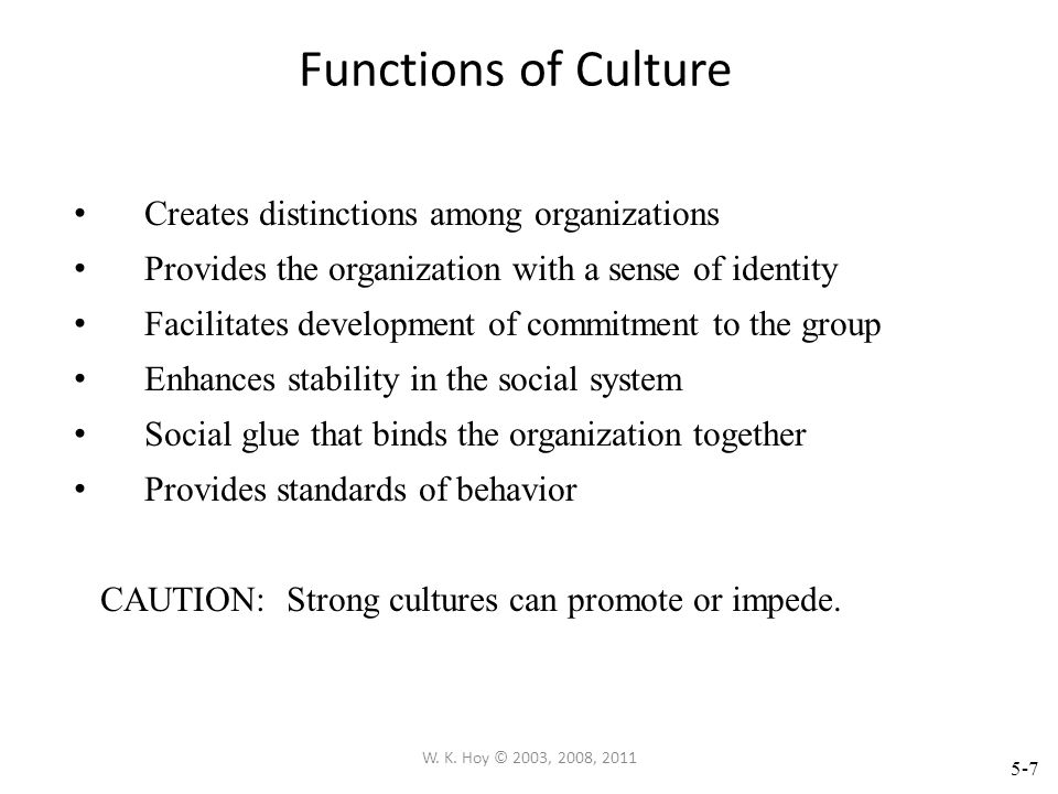 Functions of Culture Creates distinctions among organizations
