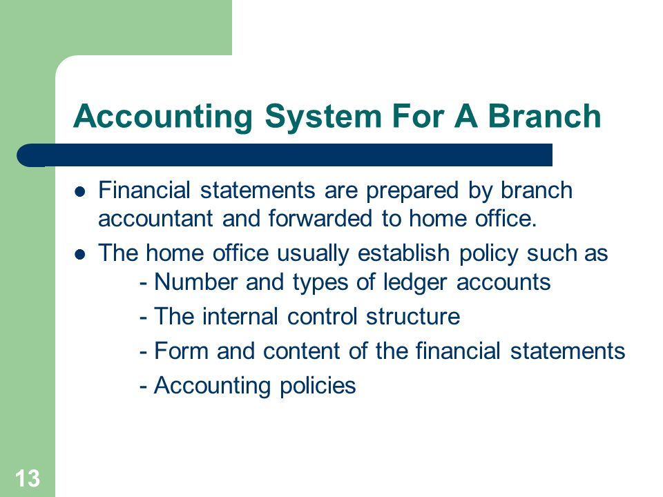 Accounting System For A Branch