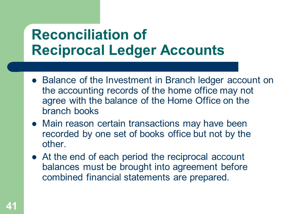 Reconciliation of Reciprocal Ledger Accounts
