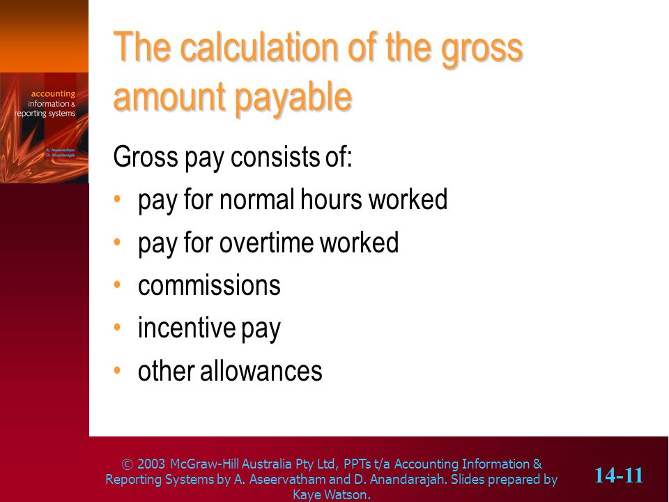 The calculation of the gross amount payable