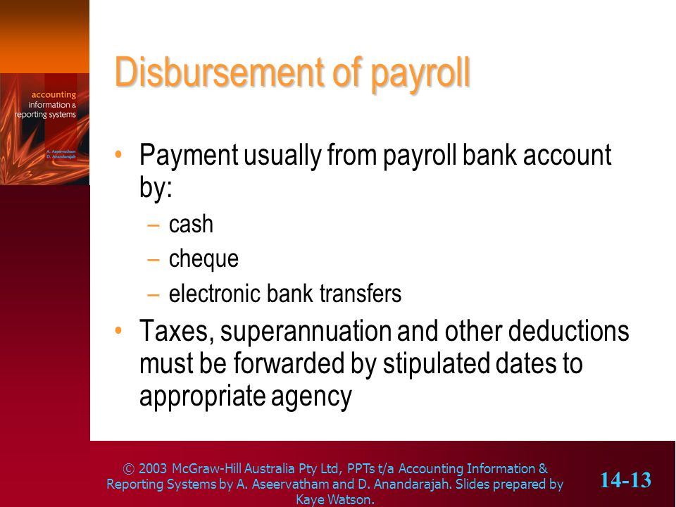 Disbursement of payroll