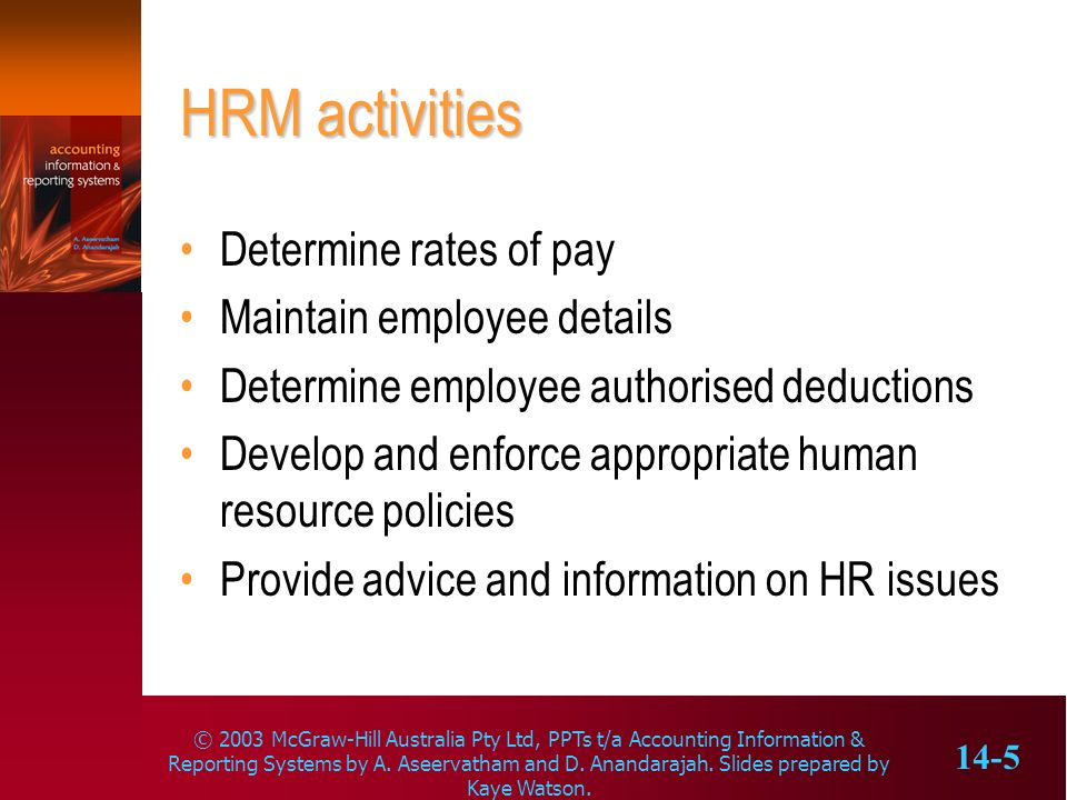HRM activities Determine rates of pay Maintain employee details