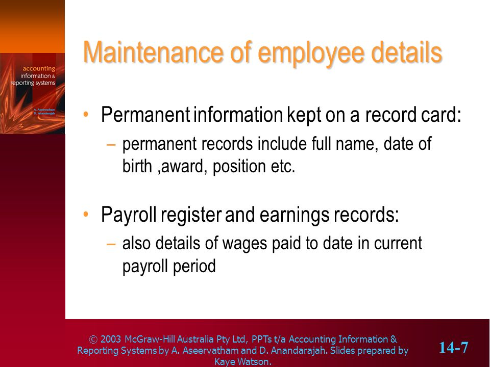 Maintenance of employee details