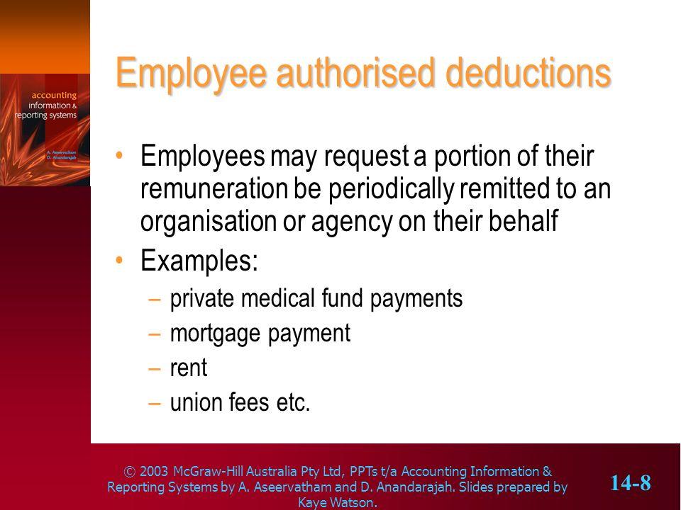Employee authorised deductions