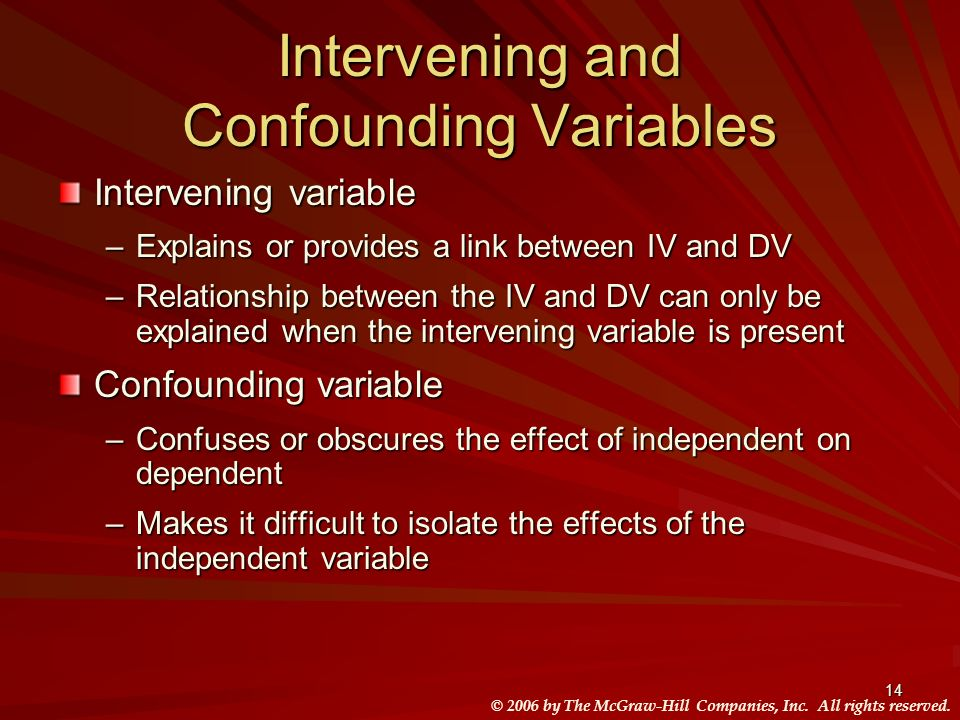 Intervening and Confounding Variables