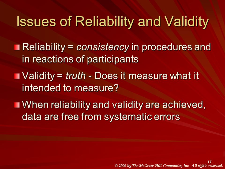 Issues of Reliability and Validity