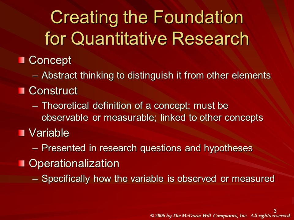Creating the Foundation for Quantitative Research