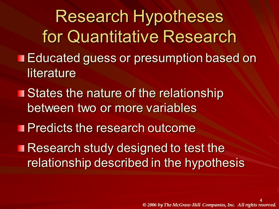 Research Hypotheses for Quantitative Research