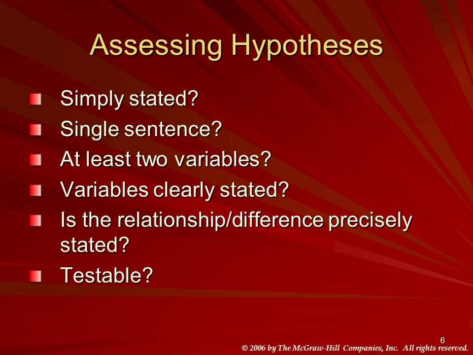 Assessing Hypotheses Simply stated Single sentence