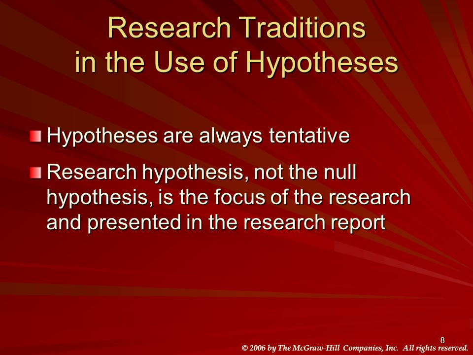 Research Traditions in the Use of Hypotheses