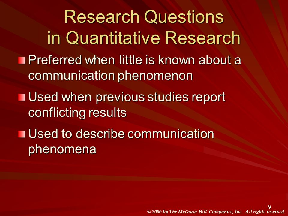 Research Questions in Quantitative Research