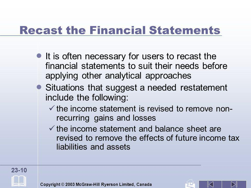 Recast the Financial Statements