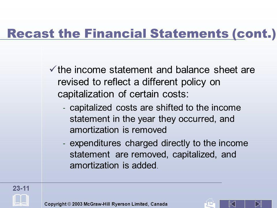 Recast the Financial Statements (cont.)