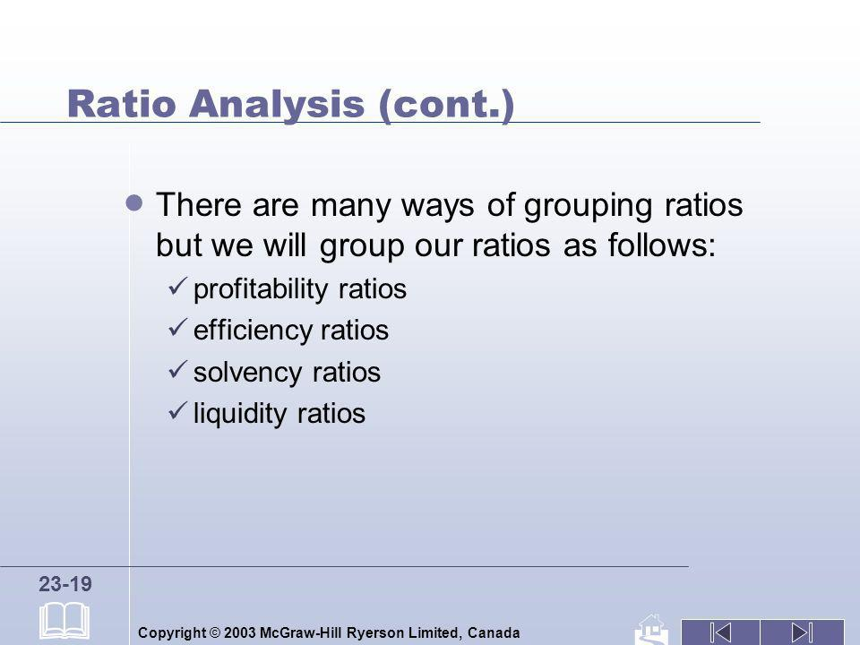 Ratio Analysis (cont.) There are many ways of grouping ratios but we will group our ratios as follows: