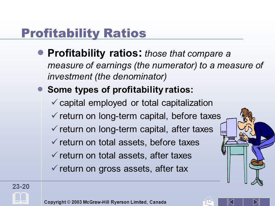 Profitability Ratios Profitability ratios: those that compare a measure of earnings (the numerator) to a measure of investment (the denominator)
