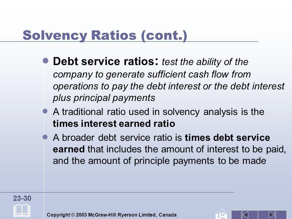 Solvency Ratios (cont.)