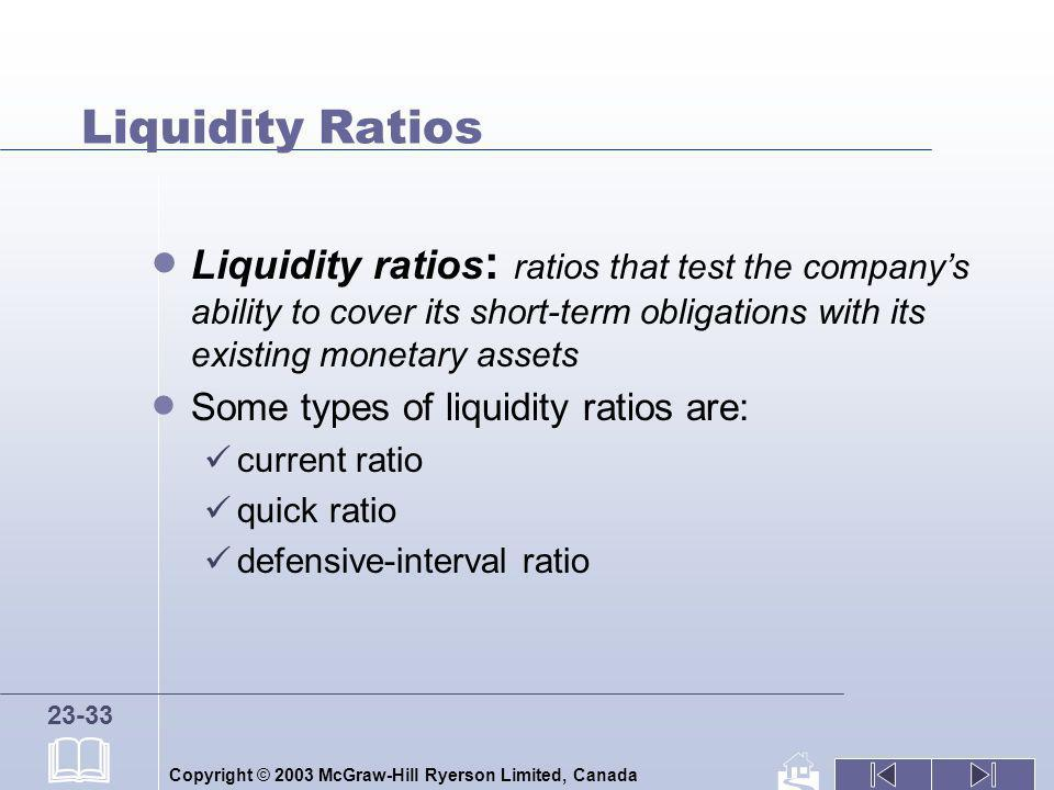 Liquidity Ratios Liquidity ratios: ratios that test the company's ability to cover its short-term obligations with its existing monetary assets.