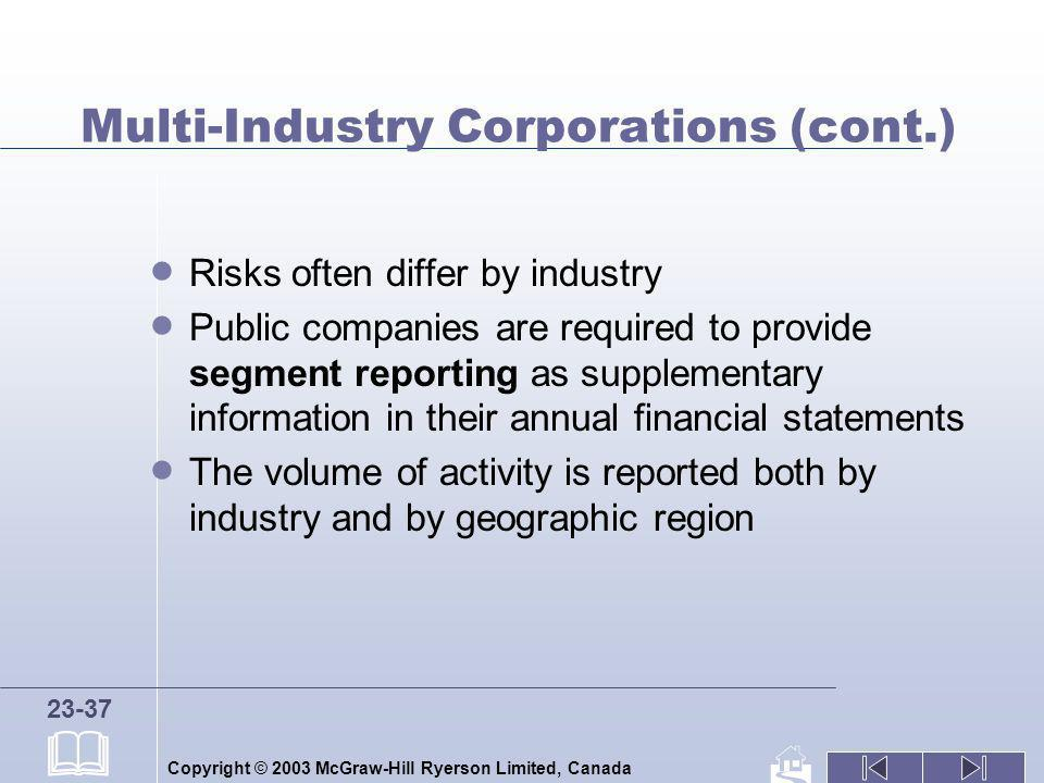 Multi-Industry Corporations (cont.)