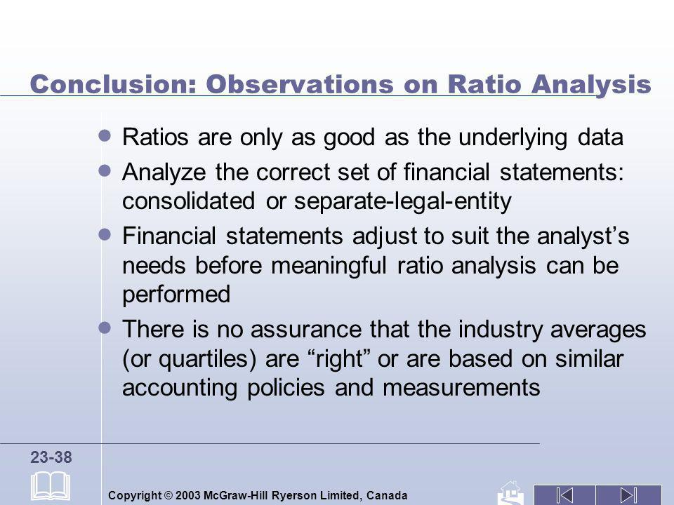 Conclusion: Observations on Ratio Analysis