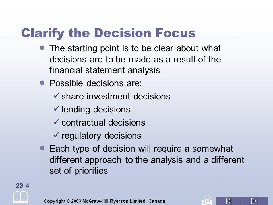 Clarify the Decision Focus