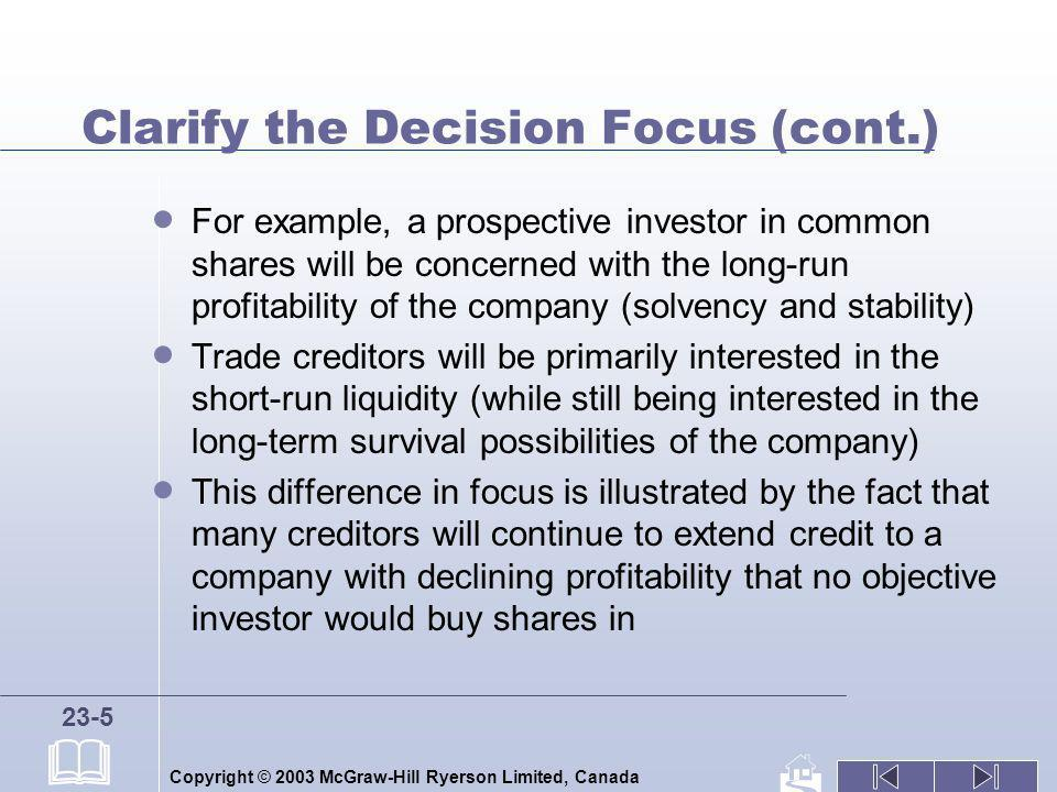 Clarify the Decision Focus (cont.)