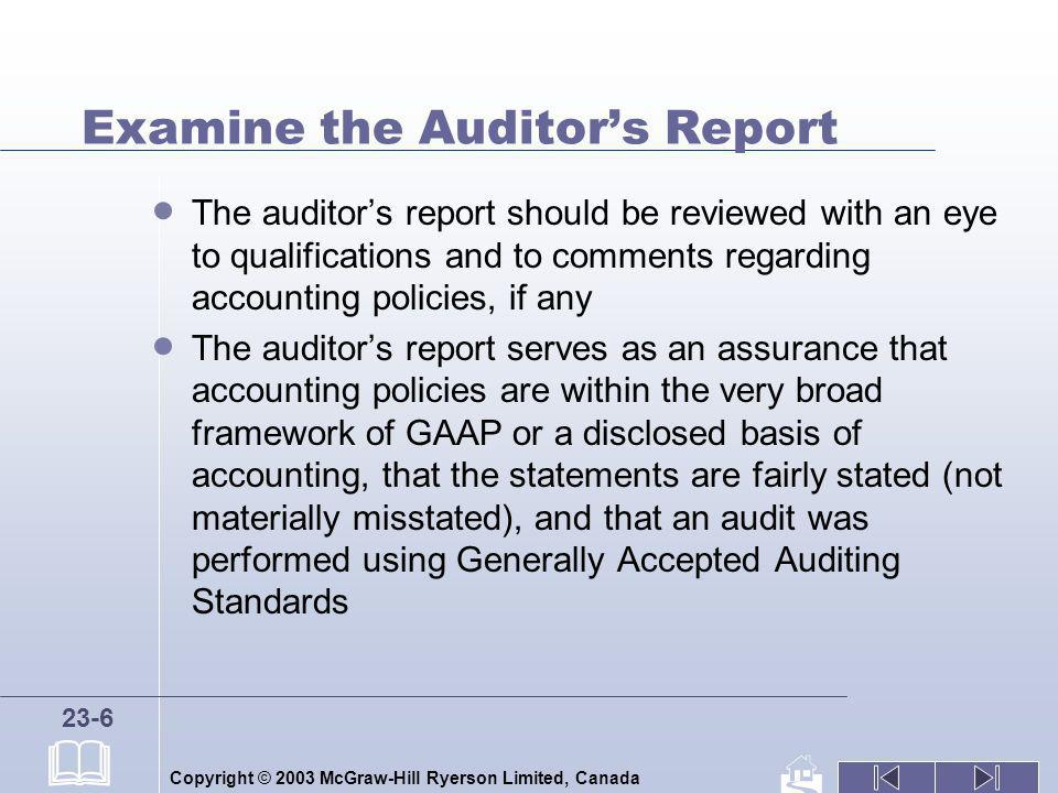 Examine the Auditor's Report