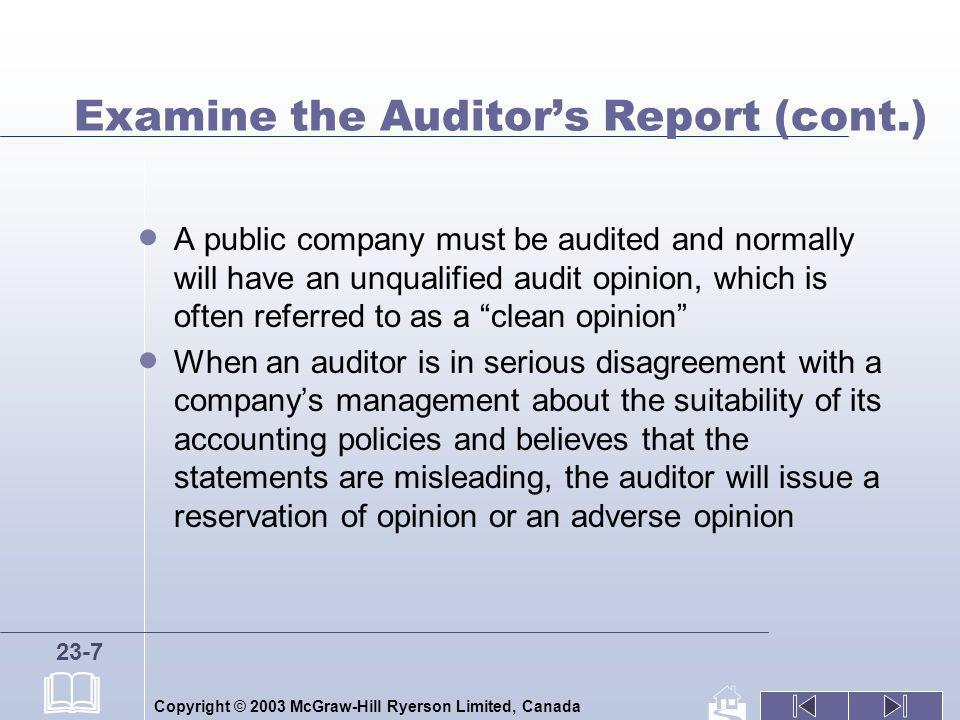 Examine the Auditor's Report (cont.)