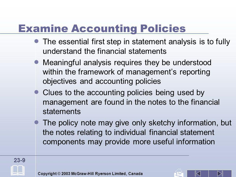 Examine Accounting Policies