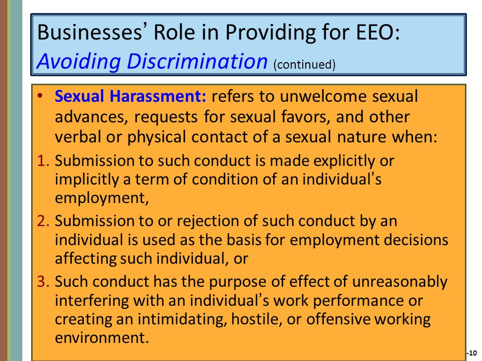 Businesses' Role in Providing for EEO: Avoiding Discrimination (continued)