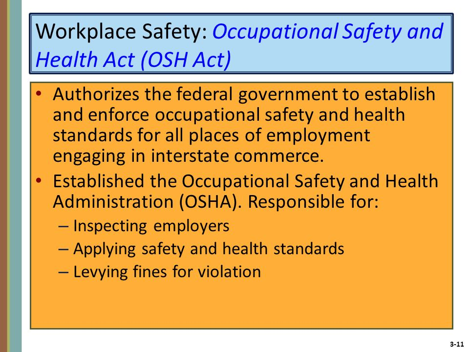 Workplace Safety: Occupational Safety and Health Act (OSH Act)