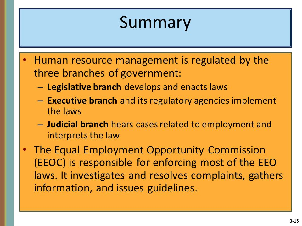 Summary Human resource management is regulated by the three branches of government: Legislative branch develops and enacts laws.