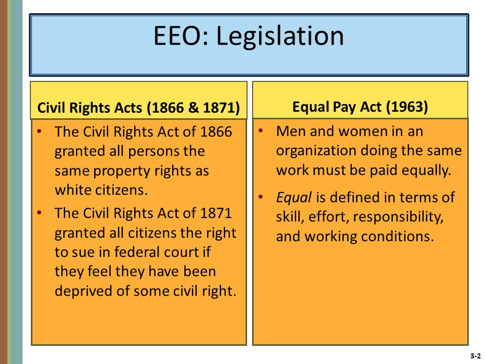 EEO: Legislation Equal Pay Act (1963) Civil Rights Acts (1866 & 1871)