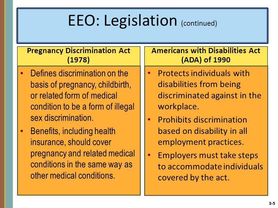 EEO: Legislation (continued)
