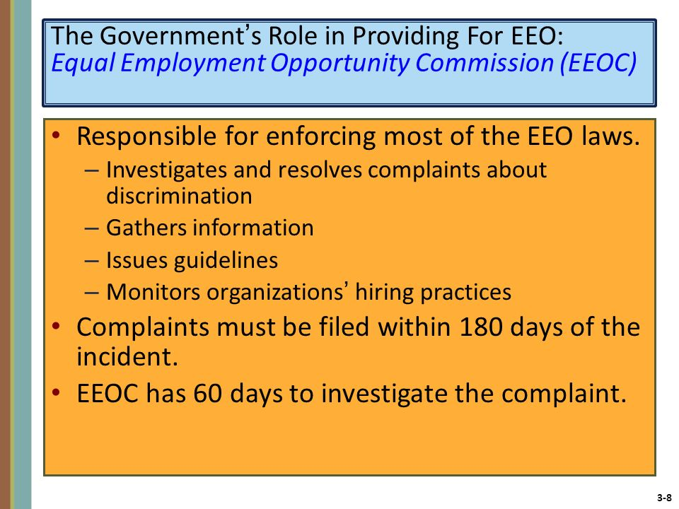 Responsible for enforcing most of the EEO laws.