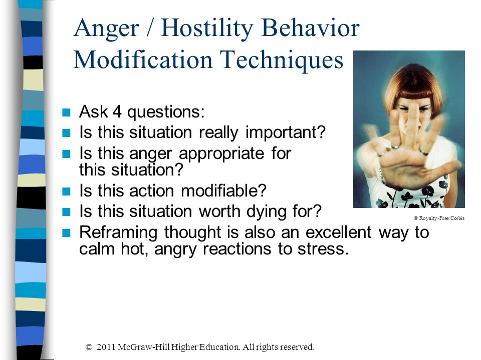 Anger / Hostility Behavior Modification Techniques