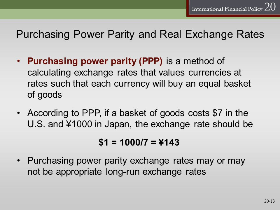 Purchasing Power Parity and Real Exchange Rates