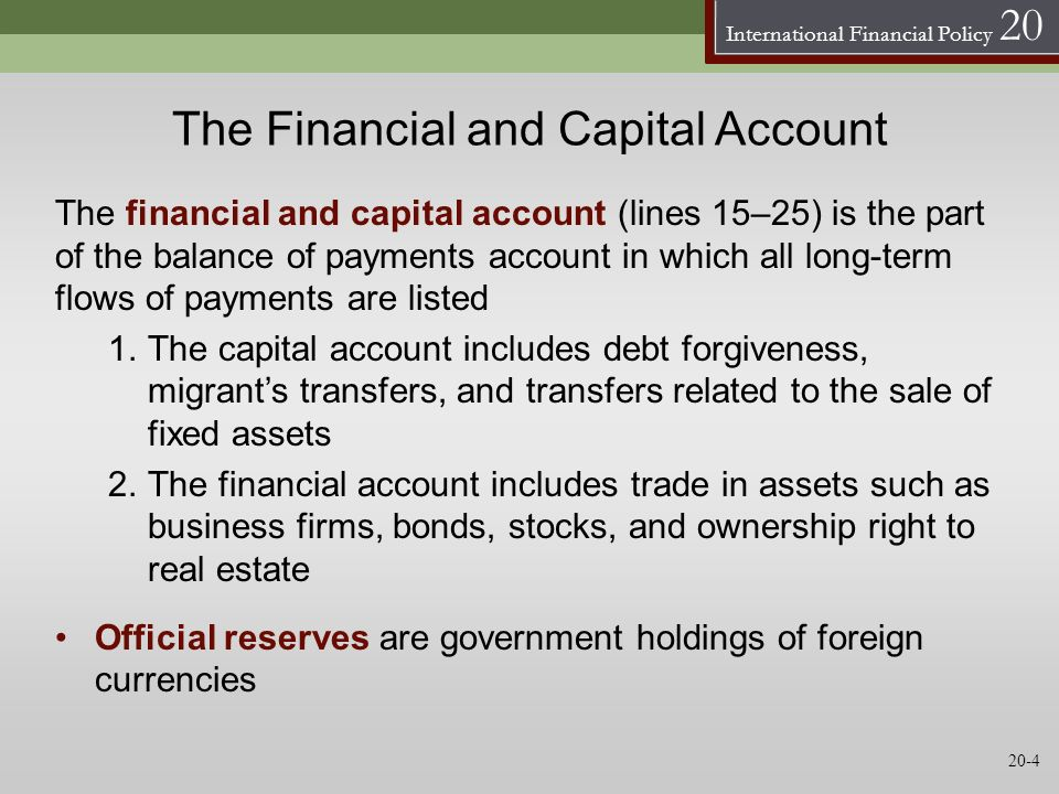 The Financial and Capital Account