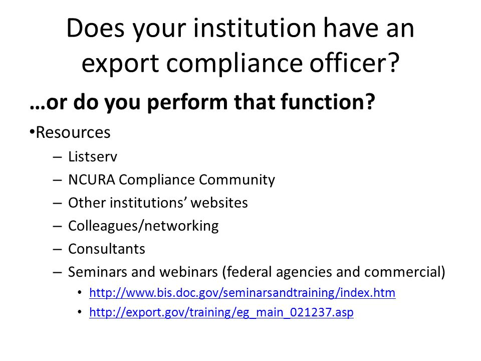 Export control nuts bolts ppt video online download - Qualifications for compliance officer ...