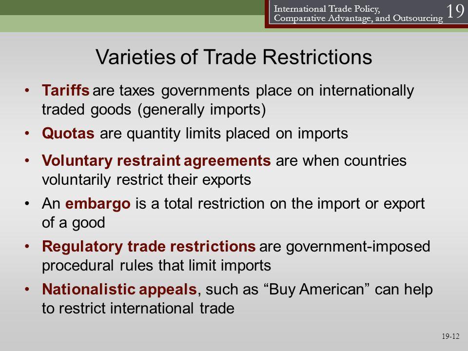 Varieties of Trade Restrictions