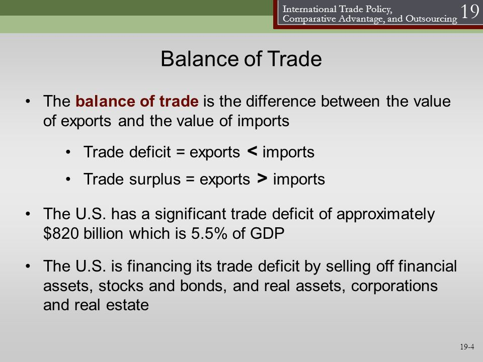 Balance of Trade The balance of trade is the difference between the value of exports and the value of imports.