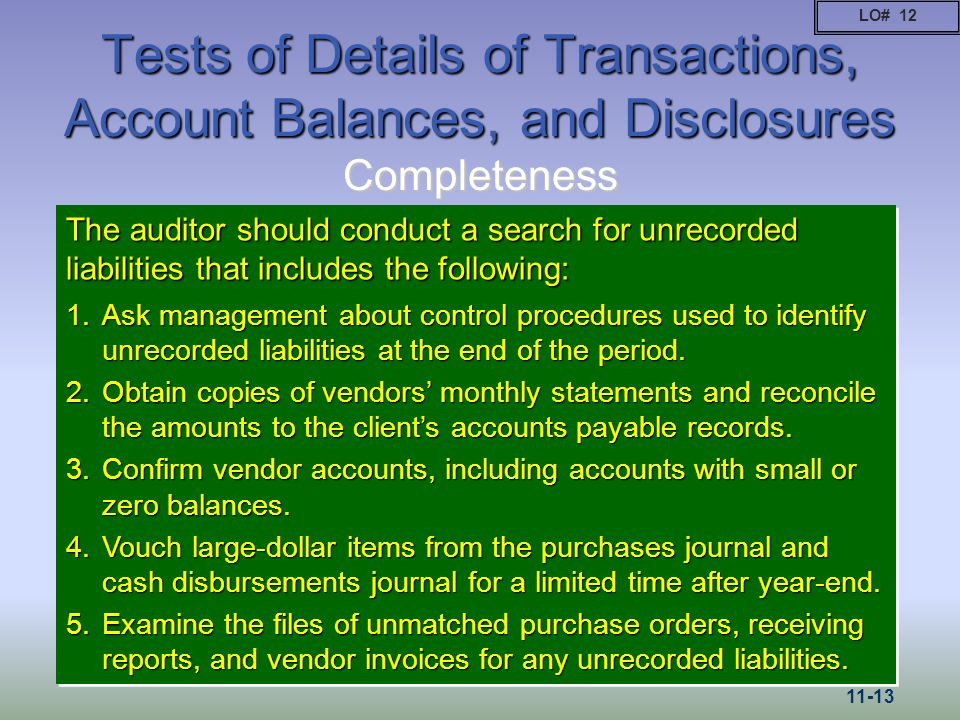 Tests of Details of Transactions, Account Balances, and Disclosures