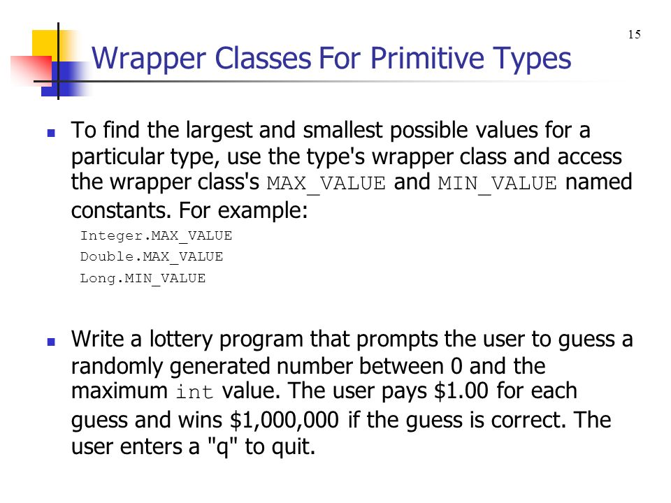 Wrapper Classes For Primitive Types