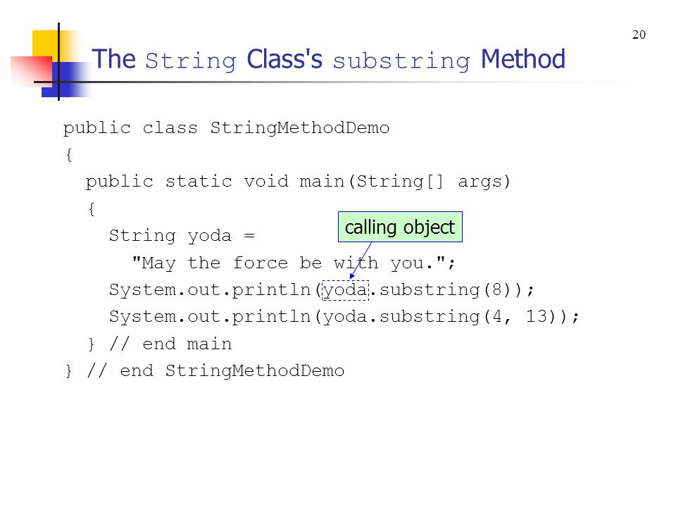 The String Class s substring Method