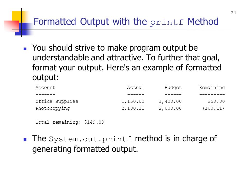 Formatted Output with the printf Method