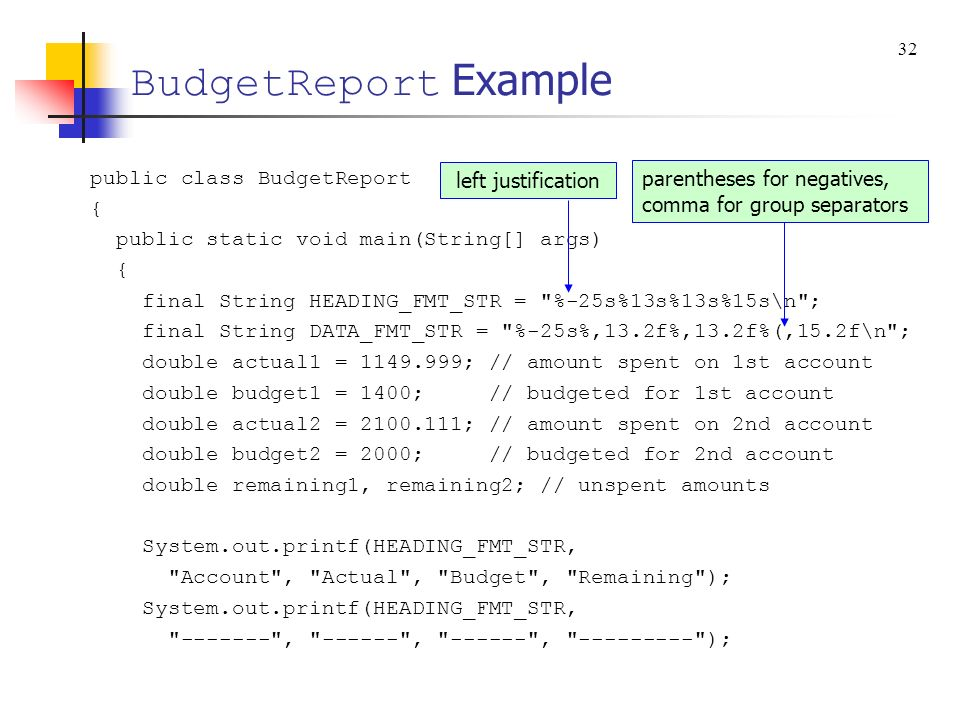 BudgetReport Example public class BudgetReport {