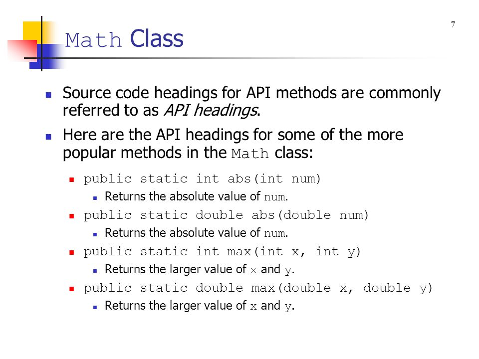 Math Class 7. Source code headings for API methods are commonly referred to as API headings.