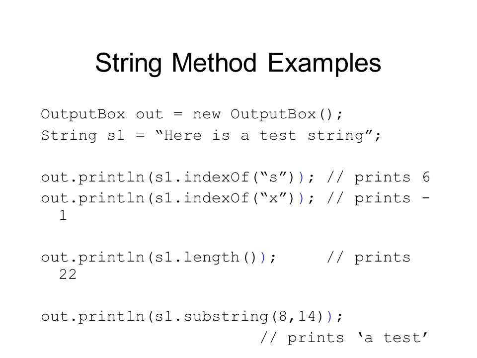 String Method Examples